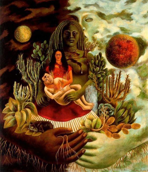 """""""O Abraço Amoroso entre o Universo, a Terra (México), Eu, o Diego, e o Sr. Xólotl"""" de Frida Kahlo (1949)."""
