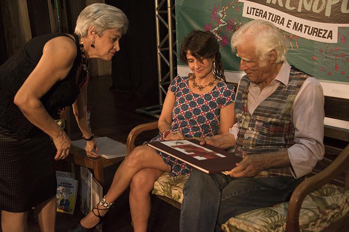 Íris Borges, Nurit Bensusan e Ziraldo.